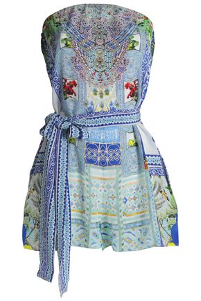 CAMILLA Belted printed silk-georgette playsuit