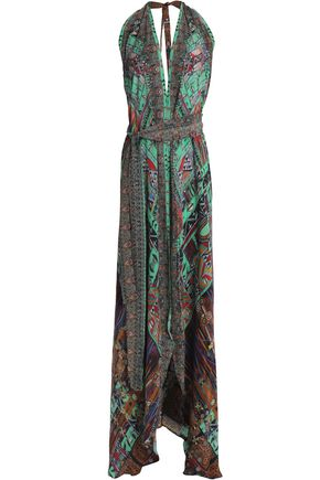 CAMILLA Open-back embellished printed silk halterneck maxi dress