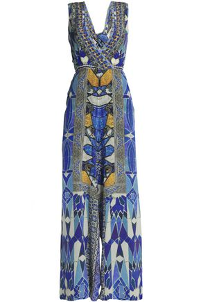 CAMILLA Wrap-effect cutout embellished printed silk maxi dress
