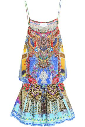 CAMILLA Embellished printed silk crepe de chine playsuit