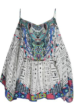 CAMILLA Printed silk coverup