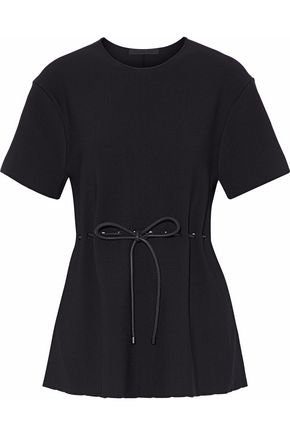 ALEXANDER WANG Leather-trimmed gathered waffle-knit top