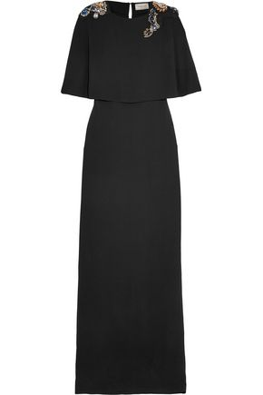 LANVIN Cape-effect embellished crepe gown