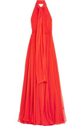 ALEXANDER MCQUEEN Crinkled silk-chiffon halterneck gown