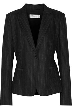 MAX MARA Faux leather-trimmed striped wool-blend blazer