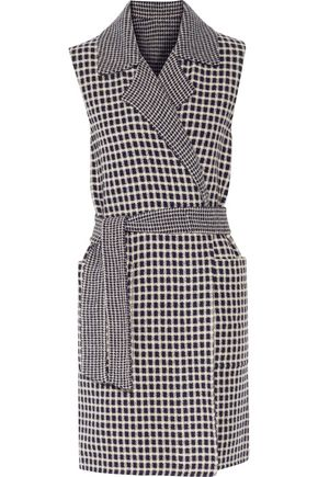 MAX MARA Reversible belted gingham wool and cashmere-blend vest