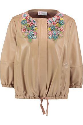 REDValentino Appliqué-paneled leather jacket