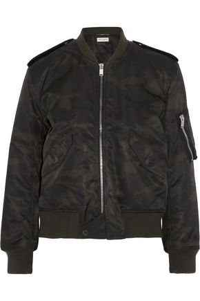 SAINT LAURENT Camouflage-print shell bomber jacket
