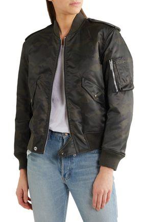 SAINT LAURENT Camouflage-print shell bomber jacket