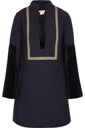 ZEUS + DIONE Thecla velvet and jacquard-paneled wool-blend mini dress