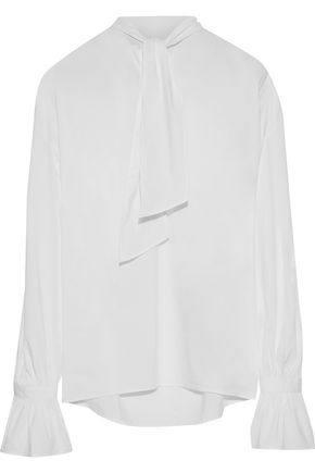 IRIS & INK Carol pussy-bow cotton-blend poplin top