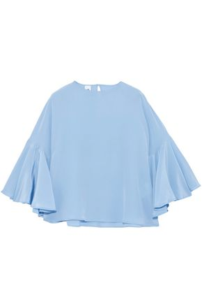 IRIS & INK Wilhelmina fluted silk crepe de chine blouse
