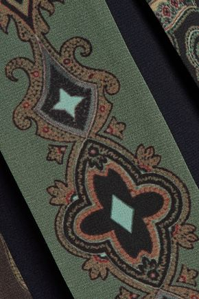 ETRO Open-back pleated printed silk crepe de chine maxi dress