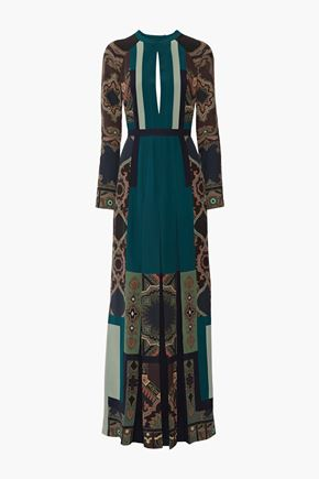 ETRO Open-back pleated printed silk crepe de chine maxi dress