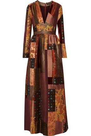 ETRO Patchwork silk-crepe, jacquard and velvet maxi dress