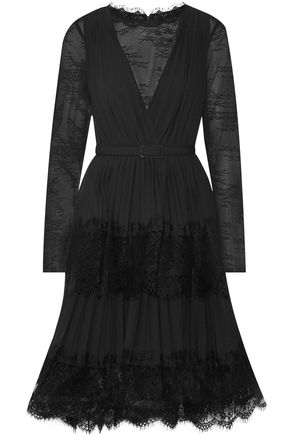 MIKAEL AGHAL Lace and plissé crepe de chine dress