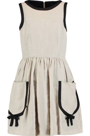 REDValentino Bow-embellished pleated linen mini dress