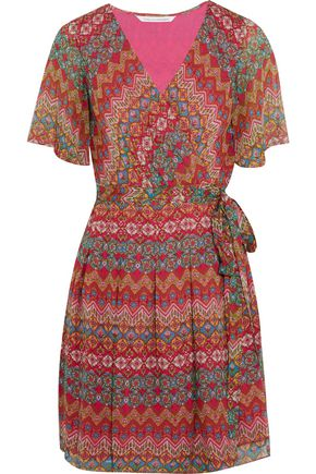 DIANE VON FURSTENBERG Katina printed chiffon wrap mini dress