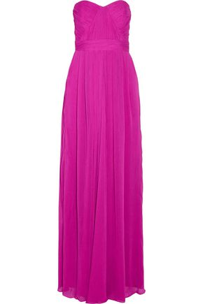 BADGLEY MISCHKA Strapless ruched crinkled gauze gown