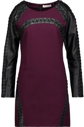 PIERRE BALMAIN Lace-up leather-paneled cady mini dress
