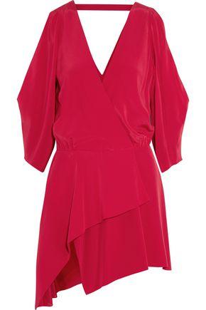 MICHELLE MASON Cold-shoulder wrap-effect washed-silk mini dress