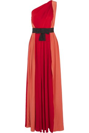 LANVIN One-shoulder bow-embellished two-tone silk gown