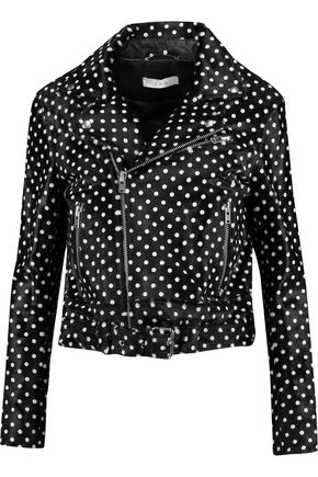 IRO Alpha polka-dot calf hair-effect leather biker jacket