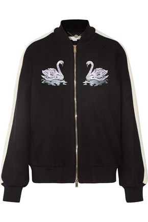 STELLA McCARTNEY Lorinda embroidered Melton wool-blend bomber jacket