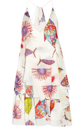 EMILIO PUCCI Layered printed ramie and cotton-blend mini dress
