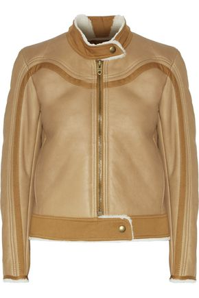 CHLOÉ Cotton grosgrain-trimmed shearling jacket