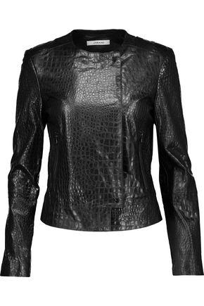 J BRAND Aline croc-effect leather biker jacket