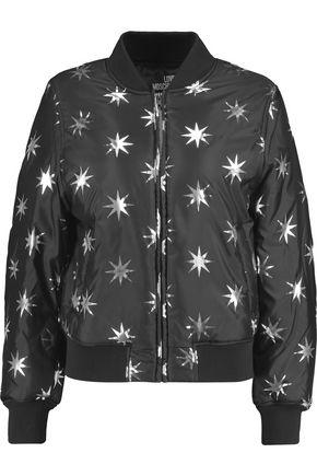 LOVE MOSCHINO Metallic printed shell bomber jacket