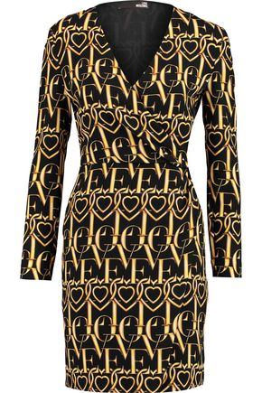 LOVE MOSCHINO Wrap-effect printed crepe dress