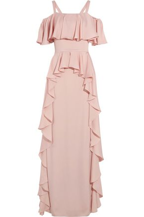 TEMPERLEY LONDON Hippolyta cold-shoulder tiered satin gown