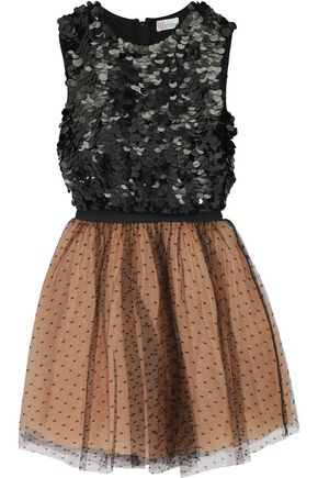 REDValentino Sequin-embellished crepe and Swiss-dot tulle mini dress