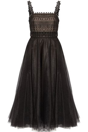 MARCHESA NOTTE Embellished pleated tulle midi dress