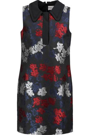ERDEM Hibiya crepe-trimmed metallic jacquard mini dress