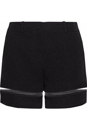 ALEXANDER WANG PVC-paneled cutout crepe shorts