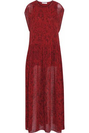 IRO Pleated printed gauze maxi dress