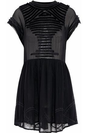 IRO Open-back fringe-trimmed chiffon mini dress