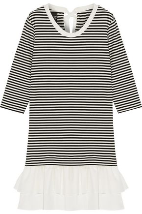 BOUTIQUE MOSCHINO Cotton-poplin and gauze-trimmed striped stretch-jersey mini dress