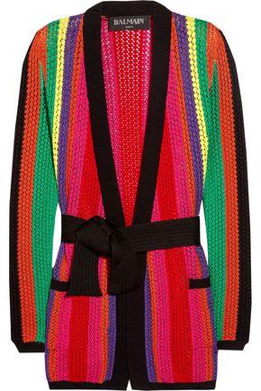 BALMAIN Striped open-knit blazer