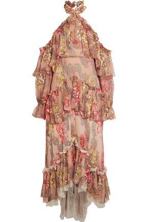 PHILOSOPHY di LORENZO SERAFINI Tiered ruffled floral-print silk-chiffon halterneck gown