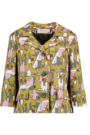 MARNI Printed woven hemp jacket