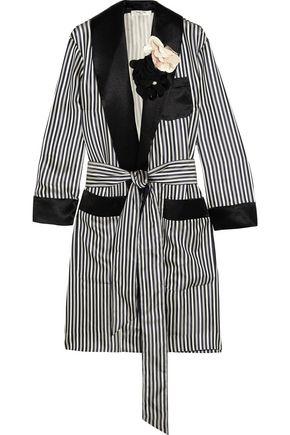 LANVIN Appliquéd striped satin jacket