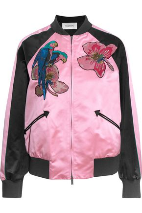 VALENTINO Appliquéd silk-satin bomber jacket