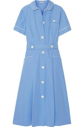 MIU MIU Belted cotton-poplin midi dress