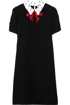 MIU MIU Printed silk crepe de chine-trimmed stretch-jersey mini dress