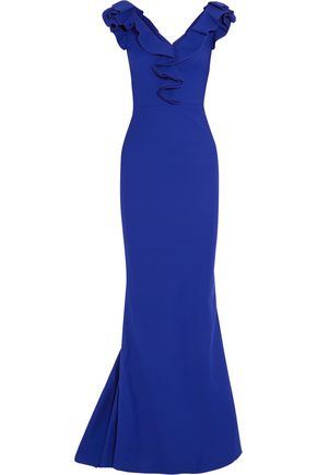 LANVIN Ruffle-trimmed crepe gown