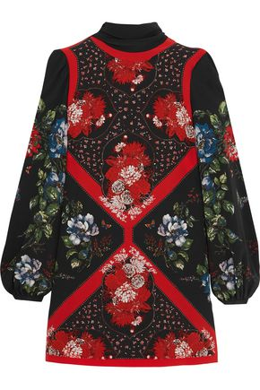 ALEXANDER MCQUEEN Printed silk crepe de chine mini dress